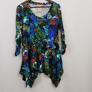 Philosophy Knit Tunic Jungle Tropical 3/4 Sleeve L